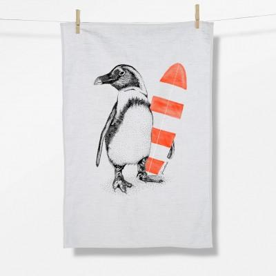 Animal Penguin Surfer (Tea Towel)