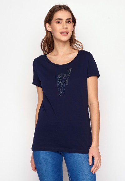 Animal Deer Couple Loves Dark Navy